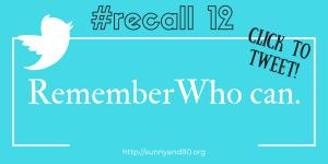 #recall12 September tweet 1